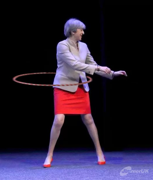 Theresa May hula hoop